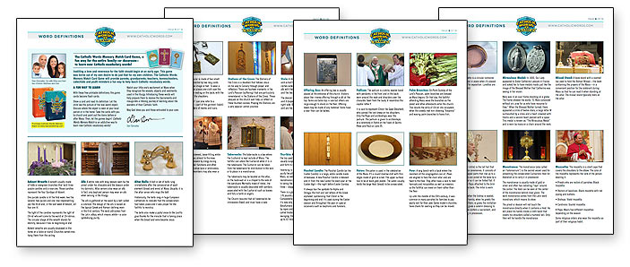 Catholic Word Definitions Sheet with Catholic craft activities.